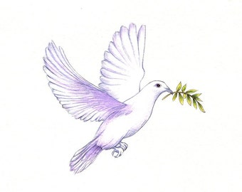 "Peace Dove Print: digital print of a drawing available 5x7"" or 8x10"""