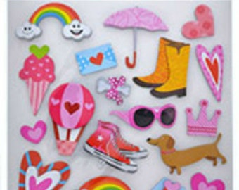 3 D Out Door Fun  Scrapbooking Stickers 22 Stickers Total, Craft Stickers, Rainy Day stickers