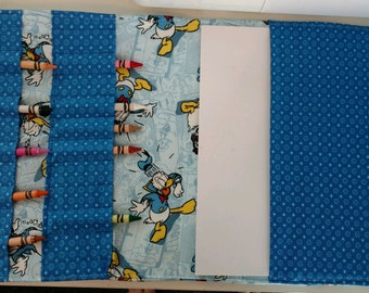 Coloring Portfolio - handmade with licensed Donald Duck fabric. Fits 8.5 x 11 paper or coloring book