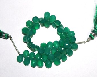 "1/2 Strand 3.25"" 28 Pcs Natural Green Onyx Faceted Pear Briolettes Size 7x5 mm Gemstone Briolette Semiprecious Beads TB22"