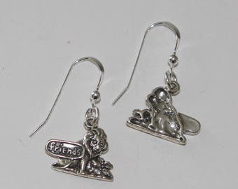 Sterling Silver LION & LAMB Earrings -