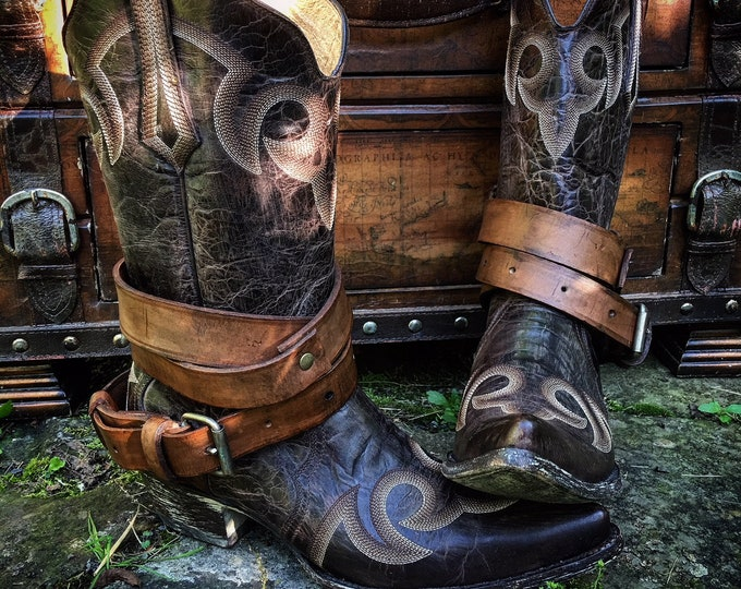 OLD WEST Vintage Genuine Leather Boot Straps, Layered Look, Adjustable, Great with short or tall boots, Sold as a pair, LAST Pair Available!