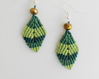 Leaf earrings, Green leaves, Green earrings,Macrame earrings,Micro macrame,Vegan jewelry,Woven jewelry,Girlfriend gift,Ombre,Shades of green