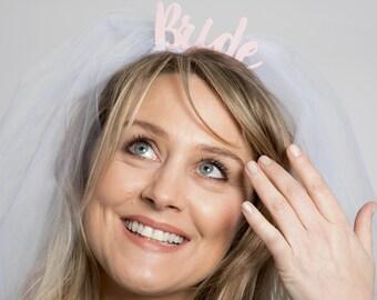 Bride with Veil Headband - Bride to Be Hen Party Accessory - Bridal Hair Accessory - Acrylic Bride Hen Do Headband