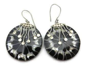 Sterling Shell Earrings - Boho Beach Jewelry Vintage Earrings for Women