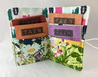 Tea Wallet Tea Bag Wallet Tea Bag Case Tea Bag Holder Tea Holder Tea Bag Cozy  Tea Bag Organizer Art Gallery Lavish Mothers Garden in Light