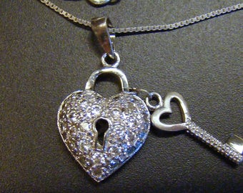 Lovely, giftable, Sterling Key to my Heart pendant Necklace on 925 silver box chain