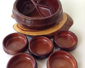 Wooden Salad Bowl Set | Monkey Pod Type Wood, Eight Piece Salad Set, Wooden Bowls, Wooden Salad Tongs,  Great Housewarming Gift