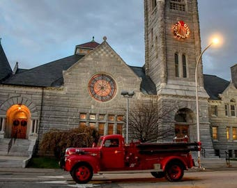Fire truck and First Church