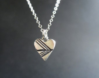 Arrow Heart Necklace - Sterling Silver Heart Pendant with Geometric Design