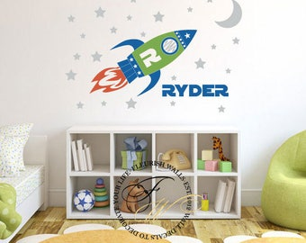 Rocket Ship Decal - Spaceship Wall Decal - Boys Name Wall Decal - Personalized Outer Space Decor - Boys Bedroom Playroom Wall Sticker CN027