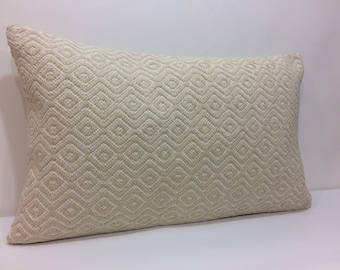 Large lumbar pillow rectangular pillow cover cream pillow cover 18x30 inches - 45x75 cm housewarming gift Christmas gifts pillow cream