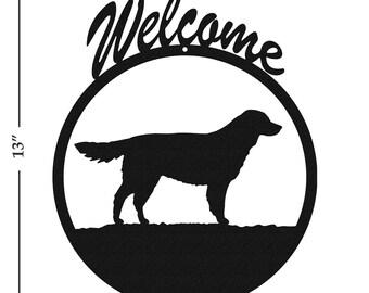 Dog Golden Retriever Black Metal Welcome Sign