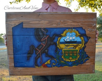 Pennsylvania State Flag-Pallet Board-Pallet Wall Art-Rustic Barnwood Decor-Man Cave-Flags-Shabby-Reclaimed Wood-Hand Painted