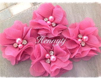 4 pcs Aubrey BUBBLEGUM PINK - Soft Chiffon with pearls and rhinestones Mesh Layered Small Fabric Flowers, Hair accessories
