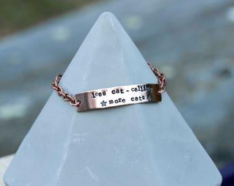 Copper bracelet // Less cat calling, more cats // With stars // Feminist bracelet
