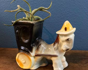 Vintage Donkey Planter - Mid Century Modern - Succulents Air Plants - Made in USA