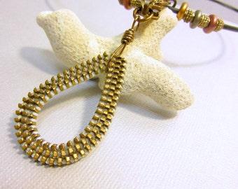 Zipper Necklace, Zipper Pull Pendant, Zipper Jewelry, Oval Teardrop Zipper Necklace, Upcycled Gold Zipper Jewelry, Zipper and Black Leather
