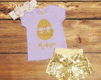 Personalized Easter Shirt *ONLY* Gold Glitter Name Top Baby Girl Easter Egg Shirt Girls Custom Easter Top Baby Girl My First Easter Sparkle
