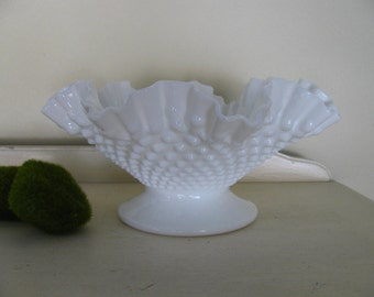 Vintage Pedestal Fenton White Hobnail Milk Glass Bowl with Ruffled Crimped Edge