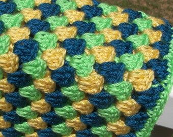 Blue, Green, and Yellow Baby Blanket - Granny Square Blanket - Crochet Blanket - Multicolor - Ready to Ship - Baby Shower Gift - Heirloom