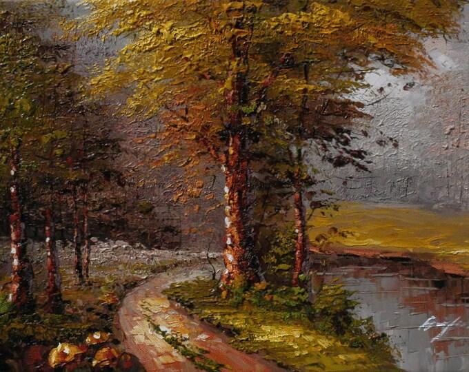 Tree Painting Handmade Oil on Canvas Wall Art Beautiful Decor