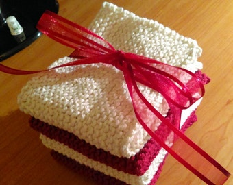 Knitted Christmas Washcloths - Set of Four