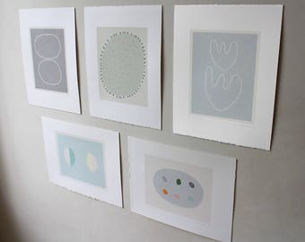 Set original minimal grey, blue, natural coloured organic modern abstract botanical screenprints. Feature wall art. Emma Lawrenson
