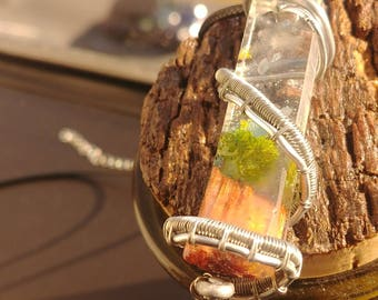 Rectangular Wire Wrapped Pendant with Lone Tree on Hill