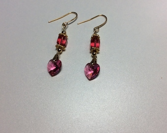 Pink Heart Swarovski Crystal Earrings