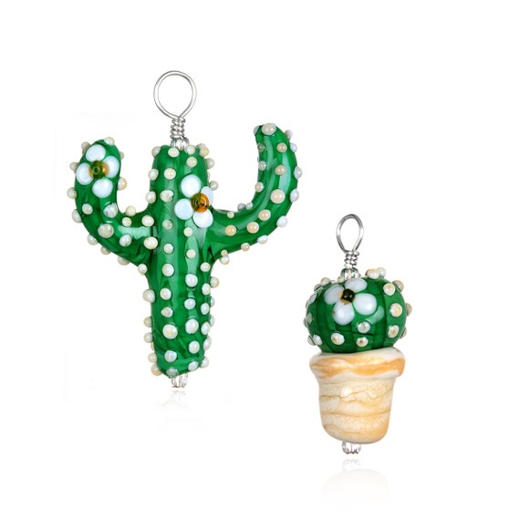 Glass Cactus Pendant Necklace on Leather