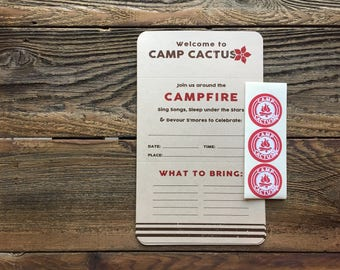 Camp Theme Party Invitations - Welcome to Camp... Folded Invite with Sticker Seal - set of 6