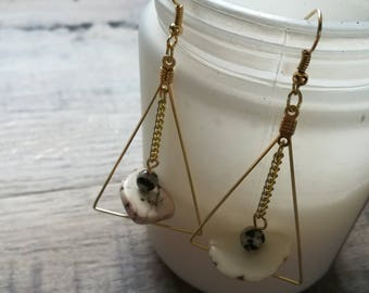 T R I A D - Composite Series- Triangle Earring Frame with Gold Chain, Howlite, and Dalmatian Jasper