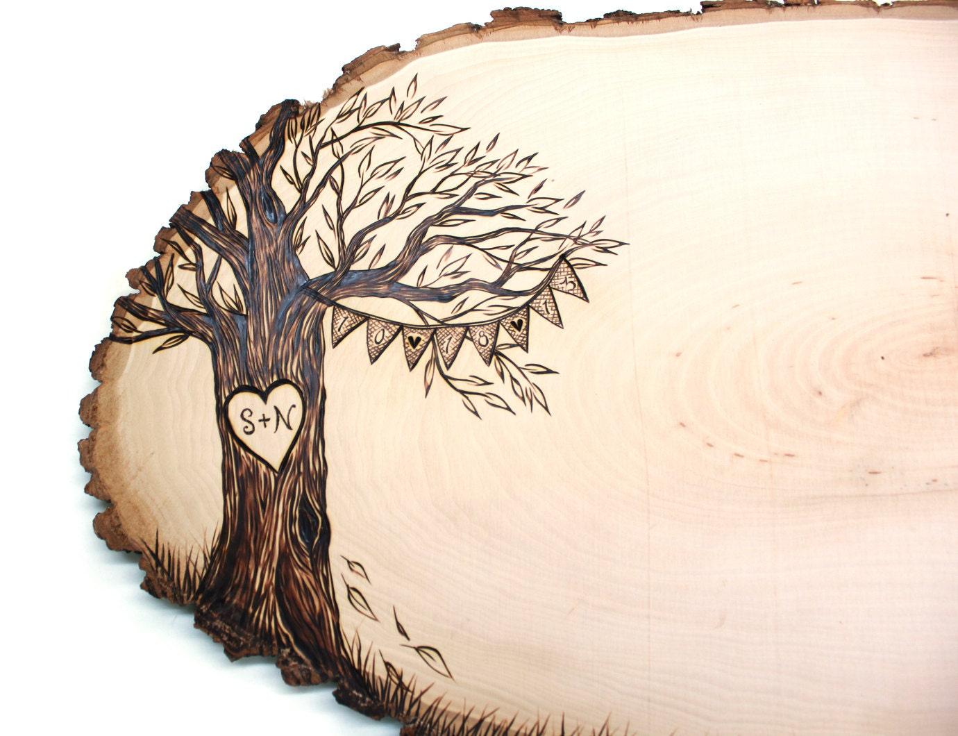 Burlap Banner Design: Wood slice rustic theme wedding guest