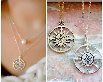 Compass necklace, True North, Graduation gift, compass charm, 2017 High School graduate, College grad, wanderlust, travel, otis b jewelry