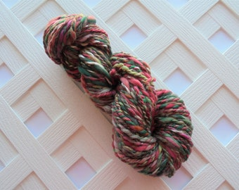 SECRET PATH Handspun Yarn - Thick and Thin Yarn, Muga Silk, Merino Yarn, Wool Yarn, Soft Luxury Yarn, Bulky Alpaca Yarn, Variegated Handspun