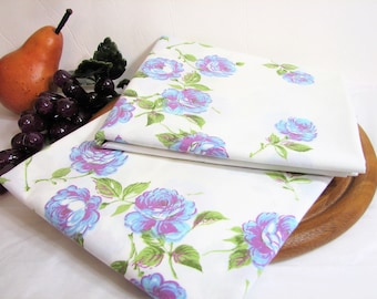 Vintage Floral Percale Pillowcases, Standard, Pair, Set of 2 ... Blue & Lavender Roses on White, Lady Pepperell, Cottage Chic, Gift for Her
