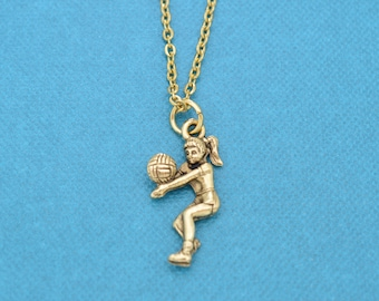 "Volleyball charm pendant in gold plated  pewter on an 16"" stainless steel chain w/ two inch extenders. Volleyball necklace.  Volleyball gift"
