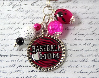 Baseball MOM Bottlecap Key Chain