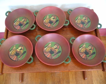 Set of 9 Creation Medicis St. Clement France Hand Painted Bowls