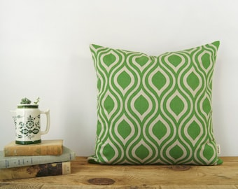 Tropical Green and Natural Beige Geometric Decorative Pillow Cases, Cushion Cover | 16x16 or lumbar 12x18 inches | Ogee accent, Modern Decor