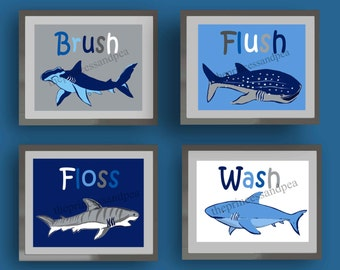 Charmant Shark Bathroom Art, Wash Brush Floss Flush Bathroom Art, Art Rules For  Bathroom, Nautical Bathroom Decor, Sharks Wall Art