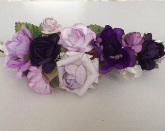 Purple flower crown, wedding rose crown, purple rose pip berries tiara, flower girl crown,toddler flower headband