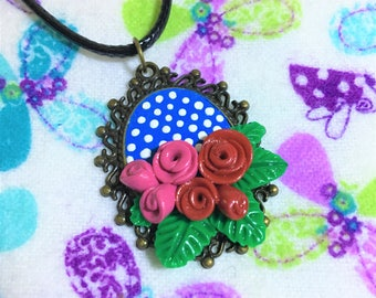 Sculpey Roses Cameo Necklace