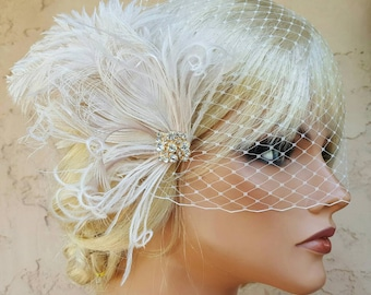 Accessories, Bridal Fascinator AND French Net Bridal Veil, Wedding Hair Clip, Bridal Comb, Ivory, White, Champagne, Feather Hair Clip, Comb