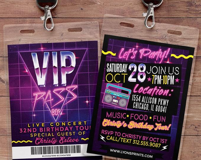 80s party, 80s, Hip Hop, hair metal, VIP PASS, backstage pass, Vip invitation, birthday invitation, birthday, fresh prince, Digital files