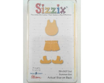 """Yellow Sizzix die #38-0107 """"Doll Summer Clothes""""; in original case; scrapbooking; die cuts; card making; papercraft; shirt, shorts, shoes"""