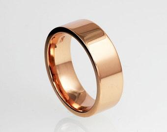 Wide rose gold wedding band, 14k rose gold, yellow gold, white gold, simple wedding band, men rose gold ring, modern ring, men's wide ring