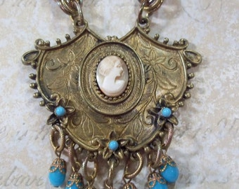Bold Antique Goldtone Cameo Necklace With Turquoise Accents