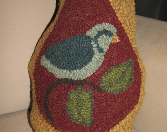 "Primitive Hooked Rug ~""Partridge in a Pear"" Pillow"